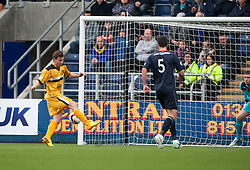 Dumbarton's Mitchell Megginson scoring their second goal.<br /> Half time : Falkirk 1 v 2 Dumbarton, Scottish Championship game played today at the Falkirk Stadium.<br /> ©Michael Schofield.