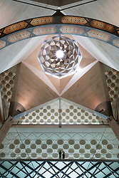 Interior view of architectural details of roof at Museum of Islamic Art in Doha Qatar