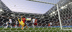 KALININGRAD, June 28, 2018  Goalkeeper Jordan Pickford (front) of England misses a goal of Belgium's Adnan Januzaj during the 2018 FIFA World Cup Group G match between England and Belgium in Kaliningrad, Russia, June 28, 2018. Belgium won 1-0. England and Belgium advanced to the round of 16. (Credit Image: © Xu Zijian/Xinhua via ZUMA Wire)
