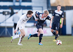 Raith Rovers Callum Booth and Falkirk's Craig Sibbald.<br /> Raith Rovers 2 v 4 Falkirk, Scottish Championship game today at Starks Park.<br /> © Michael Schofield.