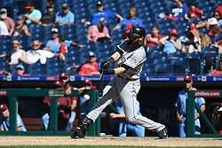 June 14, 2018 - Philadelphia, PA, U.S. - PHILADELPHIA, PA - JUNE 14: Colorado Rockies Center field Charlie Blackmon (19) hits the ball during the MLB baseball game between the Philadelphia Phillies and the Colorado Rockies on June 14, 2018 at Citizens Bank Park in Philadelphia, PA. The Phillies won 9-3. (Photo by Andy Lewis/Icon Sportswire) (Credit Image: © Andy Lewis/Icon SMI via ZUMA Press)