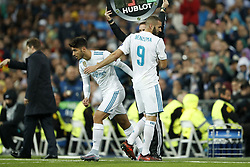 (L-R) Marco Asensio of Real Madrid, Karim Benzema of Real Madrid during the UEFA Champions League group H match between Real Madrid and Tottenham Hotspur on October 17, 2017 at the Santiago Bernabeu stadium in Madrid, Spain.