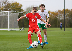 WREXHAM, WALES - Wednesday, October 30, 2019: Wales' Ruben Davies (L) and Republic of Ireland's Conor Barrett during the 2019 Victory Shield match between Wales and Republic of Ireland at Colliers Park. (Pic by David Rawcliffe/Propaganda)
