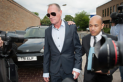 © London News Pictures. 05/08/2013. Stevenage, UK. Former England footballer PAUL GASCOIGNE (AKA Gazza) arriving at Stevenage Magistrates Court in Hertfordshire. Gascoigne, 46, was charged last month with two counts of common assault following an incident at Stevenage railway station on July 4. Photo credit: Ben Cawthra/LNP