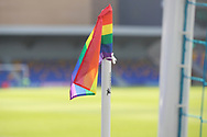 Rainbow corner flags at New Plough Lane  during the EFL Sky Bet League 1 match between AFC Wimbledon and Bristol Rovers at Plough Lane, London, United Kingdom on 5 December 2020.