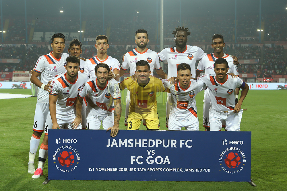 FC Goa during match 25 of the Hero Indian Super League 2018 ( ISL ) between Jamshedpur FC and FC Goa held at JRD Tata Sports Complex, Jamshedpur, India on the 1st November  2018<br /> <br /> Photo by: Ron Gaunt /SPORTZPICS for ISL