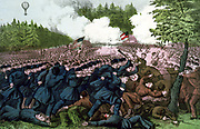 American Civil War 1861-1865: The Battle of Fair Oaks (Battle of Seven Pines or Fair Oaks Station) Virginia, 31 May to 1 June 1862.  Union troops charging Confederates. Outcome inconclusive.  Currier & Ives print 1862. Note balloon.