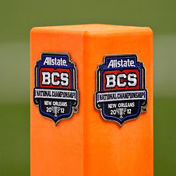 Jan 9, 2012; New Orleans, LA, USA; A detail of a BCS logo on a end zone pylon during the first half of the 2012 BCS National Championship game between the LSU Tigers and the Alabama Crimson Tide at the Mercedes-Benz Superdome.  Mandatory Credit: Derick E. Hingle-US PRESSWIRE