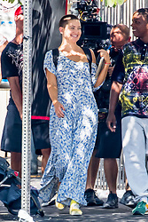 "Kate Hudson continue to shoot ""Sister"" today in Los Angeles. The 38 year-old star who shaved her head for the role was seen in a blue patterned jumpsuit. The film, which was co-written by Australian singer, Sia is slated for release in 2018. 29 Aug 2017 Pictured: Kate Hudson. Photo credit: MEGA TheMegaAgency.com +1 888 505 6342"