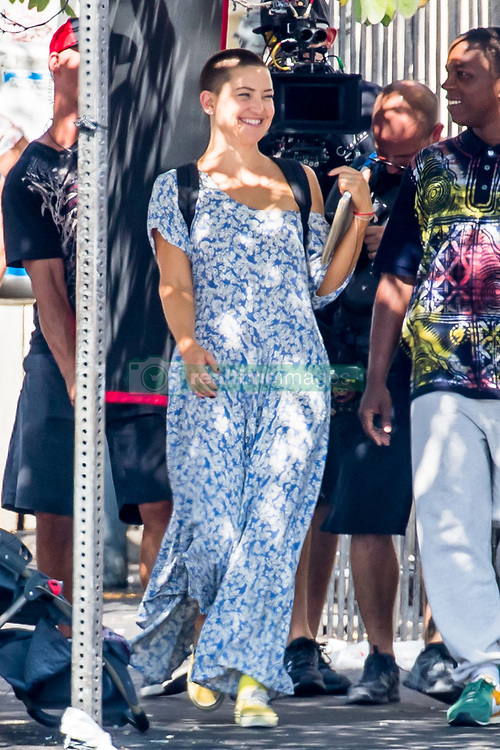 """Kate Hudson continue to shoot """"Sister"""" today in Los Angeles. The 38 year-old star who shaved her head for the role was seen in a blue patterned jumpsuit. The film, which was co-written by Australian singer, Sia is slated for release in 2018. 29 Aug 2017 Pictured: Kate Hudson. Photo credit: MEGA TheMegaAgency.com +1 888 505 6342"""