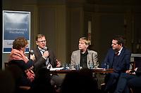 DEU, Deutschland, Germany, Weimar, 03.12.2014:<br /> Weimar-Dialog in der Jakobskirche. V.l.n.r.: Gerlinde Sommer, stv. TLZ-Chefredakteurin, Bodo Ramelow, Fraktionsvorsitzende von DIE LINKE in Thueringen, Christian Dietrich, Stasi-Beauftragter in Thüringen,  Mike Mohring, Fraktionsvorsitzender der CDU in Thüringen.