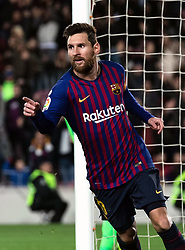 BARCELONA, Jan. 18, 2019  FC Barcelona's Lionel Messi celebrates his scoring.    during the Spanish King's Cup eighth final match between FC Barcelona and Lavente in Barcelona, Spain, on Jan. 17, 2019. (Credit Image: © Joan Gosa/Xinhua via ZUMA Wire)