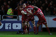 Hadleigh Parkes of the Scarlets (l) celebrates with teammates after he scores his teams 2nd try. EPCR European Champions cup match, Scarlets v RC Toulon at the Parc y Scarlets in Llanelli, West Wales on Saturday 20th January 2018. <br /> pic by  Andrew Orchard, Andrew Orchard sports photography.