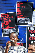 Alice Agyepong, mother of a 12-year-old child that was arrested by armed MET police officers address the crowd of anti-police brutality protestors carrying banners, placards, and flags in front of Tottenham Police Station in North London on Saturday, Aug 8, 2020. <br /> Ms. Agyepong said Kai had been left traumatized by the incident, becoming anxious if she even leaves him just to nip to the shops.<br /> Black Lives Matter enters the 11th weekend of continuous demonstrations against racial injustice in Britain. <br /> Anger against systemic levels of institutional racism has raged and continued throughout the United States, Britain and worldwide; sparked by the death of George Floyd who died on May 25 after he was restrained by Minneapolis police in the United States. (VXP Photo/ Vudi Xhymshiti)