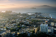 View over San Francisco Bay and Pier 39 from the top of Coit Tower, San Francisco, California