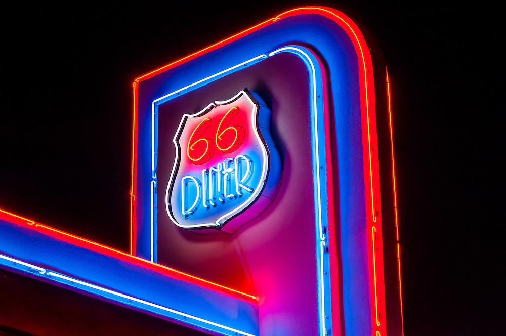 Neon sign, 66 Diner, Central Avenue (Historic Route 66), Albuquerque, New Mexico USA.