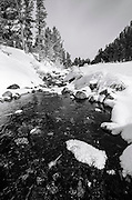 Rock Creek in winter, John Muir Wilderness, Sierra Nevada Mountains, California
