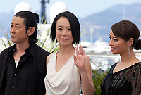 Nagase Masatoshi, director Naomi Kawase, Ayame Misaki at the Hikari (Vers La Lumiere / Radiance) photo call at the 70th Cannes Film Festival Tuesday 23rd May 2017, Cannes, France. Photo credit: Doreen Kennedy