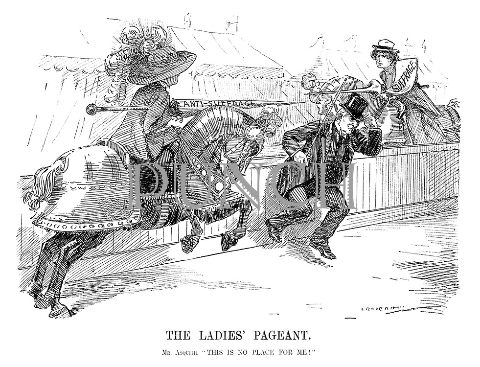 "The Ladies' Pageant. Mr Asquith. ""This is no place for me!"" (Prime Minister Asquith runs across the track before the Anti-Sufrage and Suffrage horses collide with their jousting poles)"