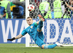 MOSCOW, July 1, 2018  Goalkeeper Igor Akinfeev of Russia saves a penalty kick by Spain's Iago Aspas during the 2018 FIFA World Cup round of 16 match between Spain and Russia in Moscow, Russia, July 1, 2018. Russia won 5-4 (4-3 in penalty shootout) and advanced to the quarter-final. (Credit Image: © Xu Zijian/Xinhua via ZUMA Wire)