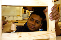 Trainee carpenter part of Go for It training programme which offers young ethnic minority people chance to enter construction industry Yorkshire UK