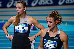 Femke Bol, Lieke Klaver in action on the 400 meter during AA Drink Dutch Athletics Championship Indoor on 20 February 2021 in Apeldoorn.