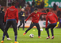 Manchester United's Shinji Kagawa in the warm up before the Capital One Cup match at The Britannia Stadium, Stoke-on-Trent. PRESS ASSOCIATION Photo. Picture date: Wednesday December 18, 2013. See PA story SOCCER Stoke. Photo credit should read: Dave Thompson/PA Wire. RESTRICTIONS: Editorial use only. Maximum 45 images during a match. No video emulation or promotion as 'live'. No use in games, competitions, merchandise, betting or single club/player services. No use with unofficial audio, video, data, fixtures or club/league logos.