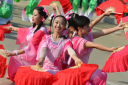 September 12, 2017 - Yunzhu, China - Demonstration of dances ahead of the second stage Jinzhong A to B race of the 2017 Tour of China 1, the 197km from Dazhai to Yunzhu. .On Tuesday, 12 September 2017, in Dashai, Jinzhong, Shanxi Province, China. (Credit Image: © Artur Widak/NurPhoto via ZUMA Press)