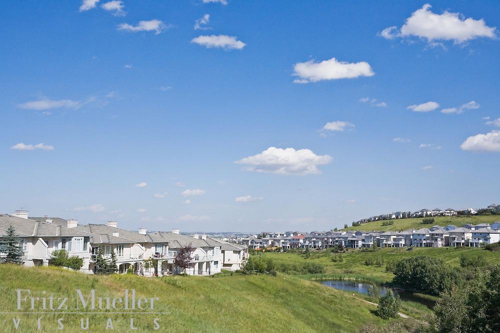 Suburban development near Calgary in the Bow River valley