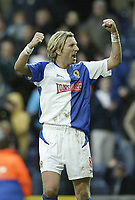 Photo: Aidan Ellis.<br /> Blackburn Rovers v Arsenal. The Barclays Premiership. 25/02/2006.<br /> Blackburn's Robbie Savage enjoys victory