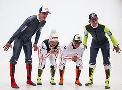 20.10.2012, Messehalle, Innsbruck, AUT, OeSV Einkleidung 2012, im Bild die ÖSV-Athleten Gregor Schlierenzauer, Elisabeth Görgl, Marcel Hirscher, Thomas Morgenstern // austrians OeSV athletes Gregor Schlierenzauer, Elisabeth Görgl, Marcel Hirscher, Thomas Morgenstern during the official Presentation of the Austrian Ski Team Fashion at the Messehalle, Innsbruck, Austria on 2012/10/20. EXPA Pictures © 2012, PhotoCredit: EXPA/ Johann Groder