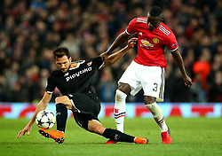 Eric Bailly of Manchester United tackles Franco Vazquez of Sevilla - Mandatory by-line: Robbie Stephenson/JMP - 13/03/2018 - FOOTBALL - Old Trafford - Manchester, England - Manchester United v Sevilla - UEFA Champions League Round of 16 2nd Leg