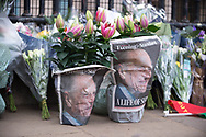Flowers laid wrapped in the Evening Standard Newspaper In memory of Prince Philip The Royal Highness the Duke of Edinburgh, London on 9 April 2021.