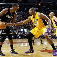 19 January 2012: Los Angeles Lakers center Andrew Bynum (17) defends on Miami Heat power forward Chris Bosh (1) during the Miami Heat 98-87 victory over the Los Angeles Lakers at the AmericanAirlines Arena, Miami, Florida, USA.