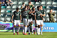 Goal - Freddie Ladapo (19) of Plymouth Argyle celebrates scoring a goal to give a 1-0 lead to the home team during the EFL Sky Bet League 1 match between Plymouth Argyle and Burton Albion at Home Park, Plymouth, England on 20 October 2018.