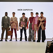Designer Jack Capstick showcases lastest collection of Bath Spa University at the Graduate Fashion Week 2018, 4 June 4 2018 at Truman Brewery, London, UK.