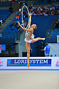 """Kudryavtseva Yana of Russia  during final at hoop in Pesaro World Cup at Adriatic Arena on April 12, 2015, Italy. Yana """"The Queen"""" is a Russian gymnast born in Moscow on September 30, 1997. Until her retirement in 2017 was one of atllete most awarded in the history of rhythmic gymnastics."""