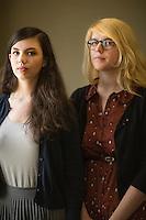 L-R Victoria Burhans and Chloë Rivera in New York. <br /> <br /> (Photo by Robert Caplin)