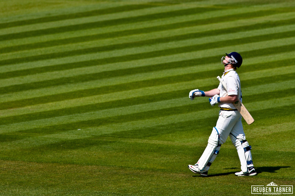 Ben Stokes of Durham CCC, leaves the field having scored 27 runs from 32 balls. he was caught out by Alex Blake of Kent CCC.