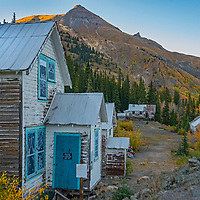 The century-old houses at Idarado Mine, near Silverton, Colorado, were moved to the site iin 1948, over a high mountain pass from  Eureka, which had just become a ghost town, itself.