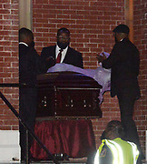 7/25/2020 Selma Alabama Selma Alabama Congressman and Civil Rights icon John Lewis's casket is seen being carried out of  Brown Chapel A.M.E. Church at the end of the last public viewing with the casket open before he is brought across the Edmund Pettus Bridge for the last time on his way to lay in state at the Alabama. State Capitol on Sunday.. Photo© Suzi Altman