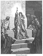 Deborah praises Jael [Judges 5:7-9] From the book 'Bible Gallery' Illustrated by Gustave Dore with Memoir of Dore and Descriptive Letter-press by Talbot W. Chambers D.D. Published by Cassell & Company Limited in London and simultaneously by Mame in Tours, France in 1866