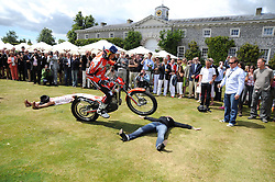 Stunt bike at the Cartier Style et Luxe, the Goodwood Festival of Speed, West Sussex on 13th July 2008.<br /> <br /> NON EXCLUSIVE - WORLD RIGHTS