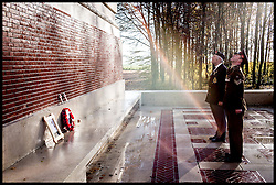 Image ©Licensed to i-Images Picture Agency. 18/11/2016. Thiepval, France. 100 years ago: Battle of the Somme ended. Thiepval Memorial.  A  Drumhead service at the Commonwealth War Graves Commission Thiepval Memorial to the Missing as today marks the day when the  Battle of the Somme ended 100 years ago.<br /> It was one of the largest battles of the First World War which ended on this day in 1916. The Somme was one of the bloodiest battles of the conflict, with more than 1.5 million casualties reported on both sides. <br /> <br /> Steven Kelliher from the Army Medical core with World War II Amy Medical core Veteran Thomas Gurney 81 from Maidstone, Whose Grandfather was in the Royal Sussex during the Battle of Somme, lay  wreaths at the Thiepval Memorial paying respect to the soldiers that died in Somme, which ended a 100 years ago<br /> <br /> Picture by Andrew Parsons / i-Images