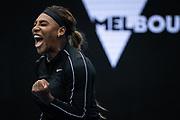Serena Williams of the U.S. celebrates a point against Australia's Daria Gavrilova during a Yarra Valley Classic match before the 2021 Australian Open at Melbourne Park in Melbourne, Australia.