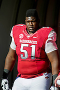 Nov 23, 2012; Fayetteville, AR, USA; Arkansas Razorbacks defensive tackle Alfred Davis (51) waits to be recognized for Senior Day before a game against the Louisiana State Tigers at Donald W. Reynolds Stadium.  LSU defeated Arkansas 20-13. Mandatory Credit: Beth Hall-US PRESSWIRE