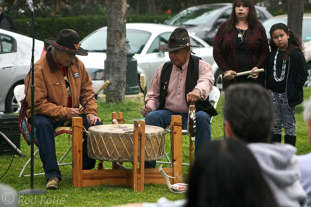 """19 January 2015-Santa Barbara, CA: Ceremonial blessing by the Santa Ynez Band of Chumash Indians (Pete Crow Heart, Elder; Matthew Zepeda, Nakia Zavalla and Cathy Marshall).  Santa Barbara Honors Dr. Martin Luther King Jr. with a Day of Celebration.  The Santa Barbara MLK, Jr. Committee chose """"Drum Majors for Justice"""" as it's theme for the day which included a Pre-March Program in De la Guerra Plaza followed by a march up State Street to the Arlington Theater for speakers, music and poetry.  The program concluded with a Community Lunch at the First United Methodist Church in Santa Barbara.  Photo by Rod Rolle"""