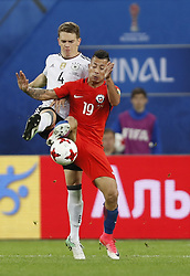 July 3, 2017 - Saint Petersburg, Russia - Leonardo Valencia (R) of Chile national team and Matthias Ginter of Germany national team vie for the ball during FIFA Confederations Cup Russia 2017 final match between Chile and Germany at Saint Petersburg Stadium on July 2, 2017 in Saint Petersburg, Russia. (Credit Image: © Mike Kireev/NurPhoto via ZUMA Press)