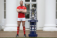 Alun Wyn Jones, the Wales captain poses with the Six Nations Trophy. RBS Six Nations 2017 media launch at the Hurlingham Club, Ranelagh Gardens in London on Wednesday 25th January 2017.<br /> pic by John Patrick Fletcher, Andrew Orchard sports photography.
