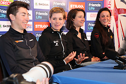 ©Licensed to London News Pictures. 06/05/2014<br /> Kettering Hotel, Kettering, Northamptonshire . Giorgia Bronzini, Emma Johannson, Marianne Vos and Lizzie Armitstead at The Friends Life Womens Tour of Britain press conference.<br /> Photo credit: Steven Prouse/ LNP